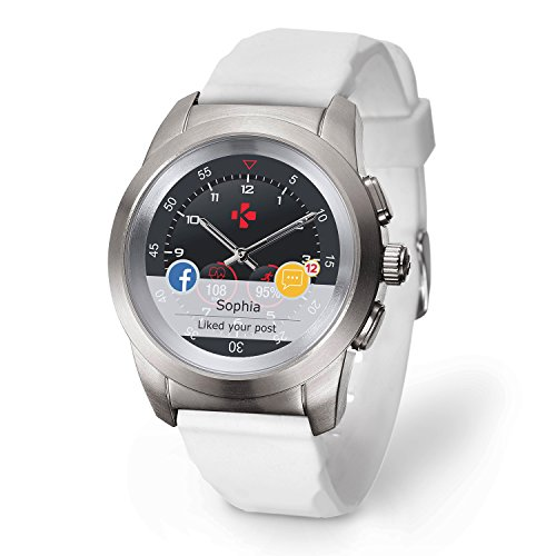 MyKronoz ZeTime Petite Original Hybrid Smartwatch 39mm with mechanical hands over a color touch screen – Brushed Silver / White Silicon Flat by MyKronoz