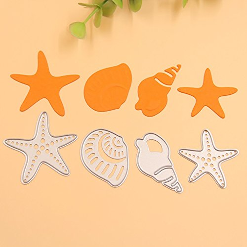 es, 4pcs/set Conch Starfish DIY Card Paper Decor, Handmade DIY Stencils Template Embossing for Card Scrapbooking Craft (Silver) ()
