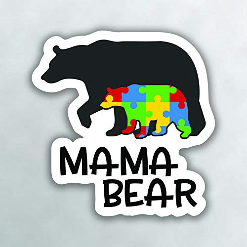 More Shiz Autism Mama Bear Vinyl Decal Sticker - Car Truck Van SUV Window Wall Cup Laptop - One 5 Inch Decal - MKS0999 -