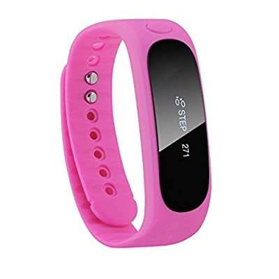 DIZA100 E02 Wireless Bluetooth Activity and Sleep Pedometer Bracelet Smart Fitness Tracker Wristband - Hot Pink