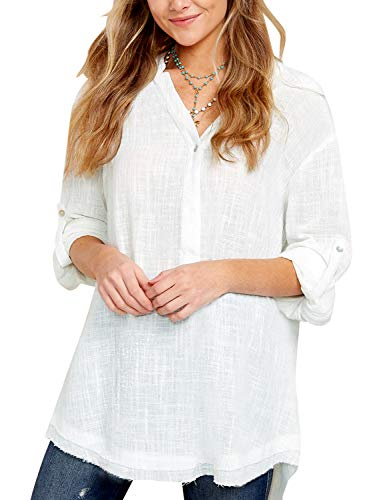 ACKKIA Women's Casual V Neck Long Sleeve Shirt Solid Loose Tunic Top Blouse White, Size (Solid V-neck Tunic)