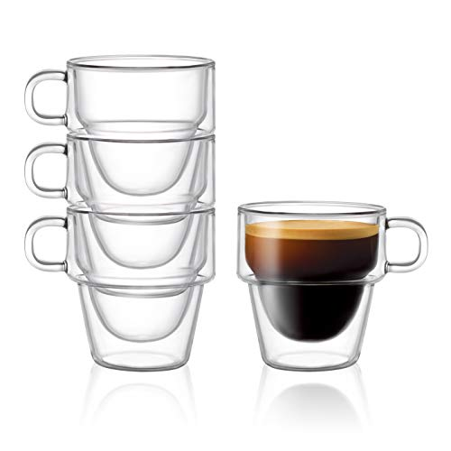 Stoiva Double Wall Insulated Espresso Glass Cups - 5 oz. (150 ml) Espresso Shot Glass Cup with Handle - Stackable Thermal Clear Glass Cups, Ideal Fit for Espresso Machine and Coffee Maker - Set of 4