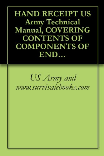HAND RECEIPT US Army Technical Manual, COVERING CONTENTS OF COMPONENTS OF END ITEM (COEI), BASIC ISSUE ITEMS (Bll), AND ADDITIONAL AUTHORIZATION LIST (AAL) ... TM 32-5895-070-10-HR, 1989