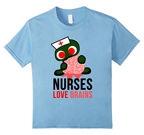 Kids Nurses Love Brains Funny Halloween Costume T-Shirts 10 Baby Blue ()