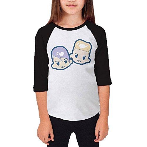 Superfruit Cartoon Brothers Unisex Youth Cotton 3/4 Sleeve Baseball Jersey Tee Shirt Black X-Large