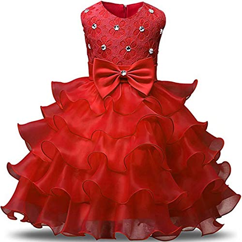 kids Showtime Baby Girls Toddler Princess Wedding Party Prom Bridesmaid Formal for Little Girls (Red1-M) -