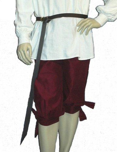 Knee  (Mens Burgundy Pirate Costumes)
