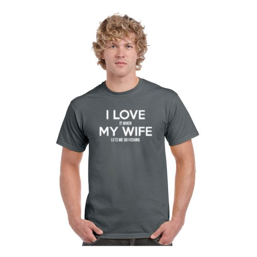 So Relative! I Love It When My Wife Lets Me Go Fishing Adult T-Shirt (Charcoal, Medium)