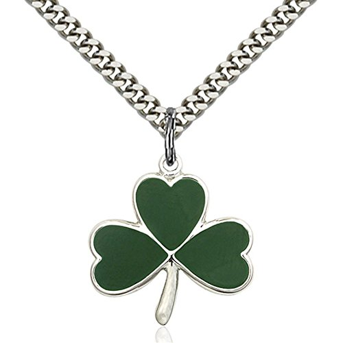 Bonyak Jewelry Sterling Silver Shamrock Pendant 3/4 x 3/4 inches with Heavy Curb Chain