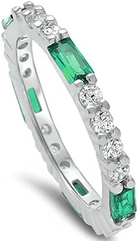 Baguette Simulated Green Emerald & Round Cubic Zirconia Band .925 Sterling Silver Ring Sizes 4-12