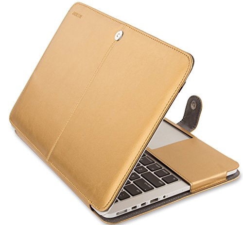 MOSISO PU Leather Case Only Compatible MacBook Pro Retina 13 Inch No CD-ROM (A1502 / A1425, 2015-end 2012), Premium Book Folio Protective Stand Cover Sleevr, Gold