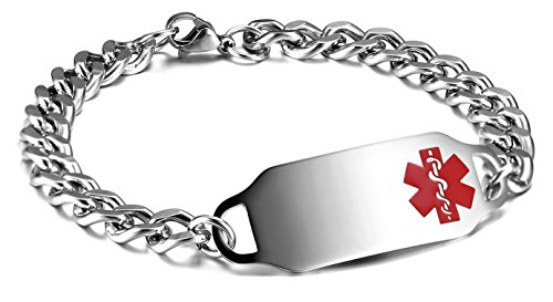 JF.JEWELRY Stainless Steel Medical Alert ID Bracelet for Women and Men,Free Engraving (Red)