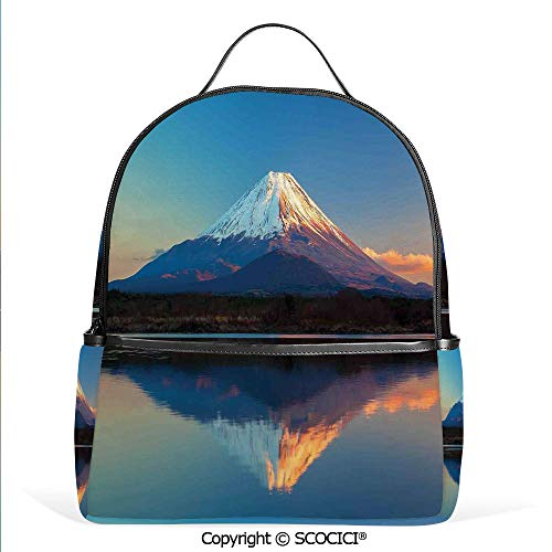 (All Over Printed Backpack Mount Fuji and Lake Shoji Picture Clear Sky Sunset Photo Print,For Girls Cute Elementary School Bookbags)