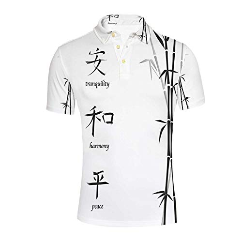 Bamboo House Decor Durable Polo Shirt,Illustration of Chinese Symbols for Tranquility Harmony Peace with Bamboo Pattern for Men,S