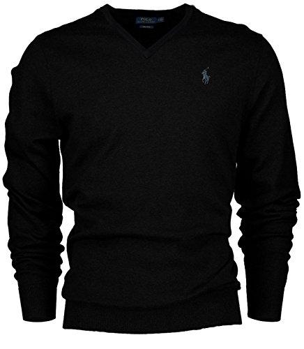 Polo Ralph Lauren Men's Pima Cotton V-Neck Pony Logo Sweater (Medium, Black / Silver (Logo V-neck Sweater)