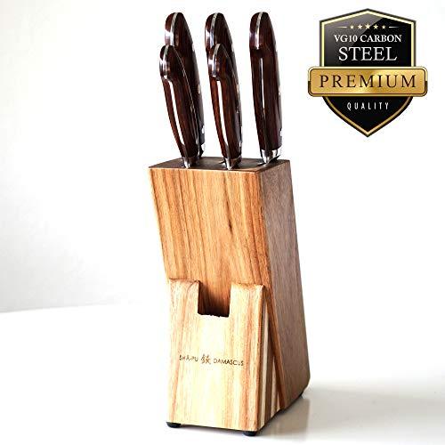 Sha-Pu Premium Handcrafted Hammered Damascus Steel 5 Piece Knife Set, Razor-Sharp Superior and Durable Kitchen Knife Set (Redwood Ergo)