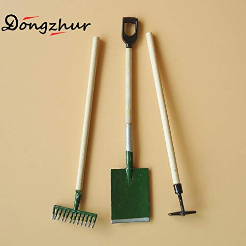 (Multi Amazings 3pcs/Set Mini Gardening Tools Shovel/rake/Hoes Doll Miniatures 1:12 Accessories Miniature Doll Furniture Toy)
