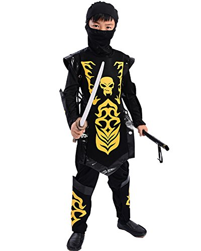 Boner Costumes Skeleton (Child Halloween Skeleton Skull Costume Japanese Ninja Warrior Cosplay Suit Outfit (Small(110-120CM),)