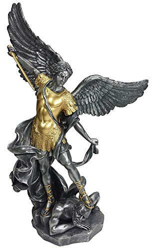 Veronese Collection Saint Michael The Archangel Pewter with Gold Accents 14.5 Inch Statue