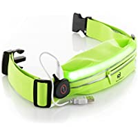 LED Reflective Running Belt Pouch with USB Rechargeable...