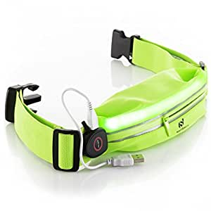 LED Reflective Running Belt Pouch with USB Rechargeable Light - Key, Phone, iPhone 6 Plus Holder for Runners - Waist Fanny Pack for High Visibility during Walking and Cycling … (Green Fluo)