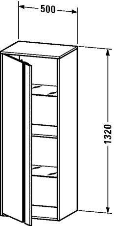 Duravit KT1267R4949 - KT tall cabinet 360x500x1320 Graphite Matt