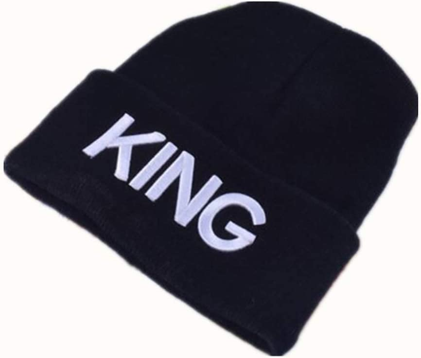 Mioloe Black Skull Cap King Queen Winter Knitting Beanie Hat Fashion 3D Embroidery Hat
