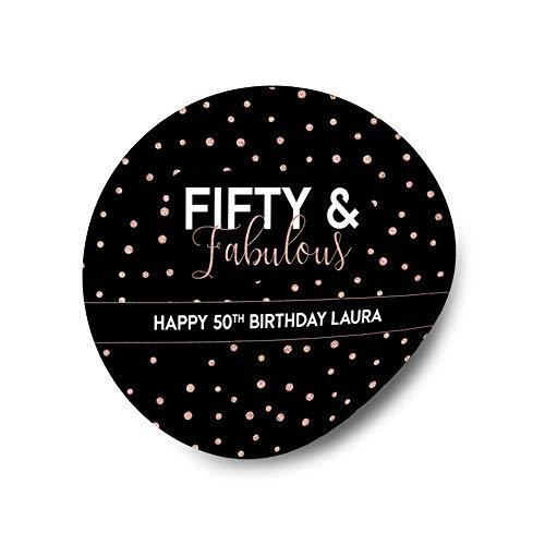 Fifty /& Fabulous Birthday 2 Inch Round Stickers