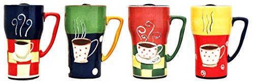 Set of 4 COFFEE Ceramic Travel Mugs 6-1/4