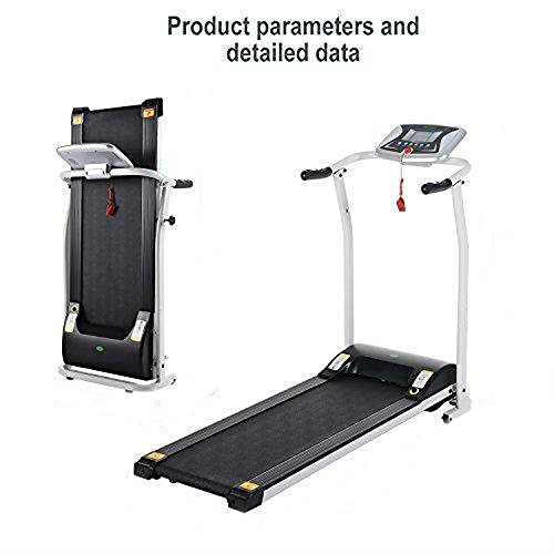 (US STOCK)Mini Portable Folding Treadmill,Easy Assembly Electric Motorized Power Treadmill Running Machine with LED Displays,Home Office Gym Fitness Trainer Equipment (White)