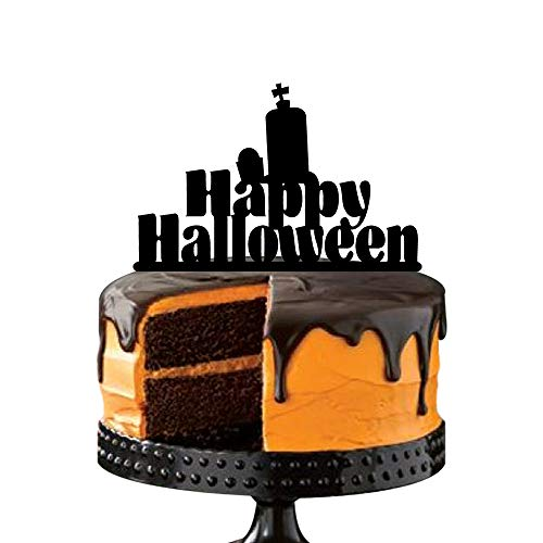 Halloween Cake Topper, Tombstone and Cross, Acrylic Decorative Happy Halloween Cake Picks for Party Decoration, -