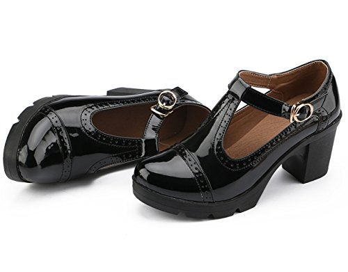 Dress Heel T Classic Oxfords DADAWEN Shoes Toe Mid Women's Strap Square Black Platform qTH1Hx