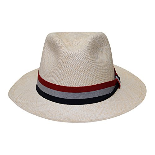 Borges & Scott - Teardrop Fedora Panama Hat - Natural Straw with Antique Red, White and Blue Band - 60cm