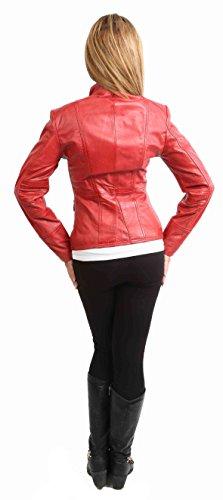 Femmes Cuir Véritable Style Militaire Veste Décontractée Slim Fit Taille Longueur Janet Rouge