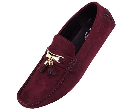 Amali Mens Tassel Driving Shoe, Comfortable Microfiber Driver, Casual Moccasin, Style Dyer Burgundy
