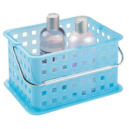 InterDesign Plastic Storage Organizer Basket with Handle for Bathroom, Health, Cosmetics, Hair Supplies and Beauty Products, 5.3 x 8.8 x 6.9, Azure