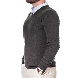 Cashmere Zone Maglione Uomo Scollo a V Puro Cashmere 100% Made in Italy Lana Pullover a Manica Lunga con Girocollo Soffice e Morbido
