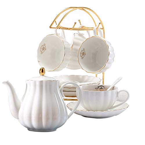 European Teaspoon - YoungQI Porcelain Tea Coffee Sets with Teapot Teaspoons 8 OZ Cups & Saucer Service for 4 (White set for 4)