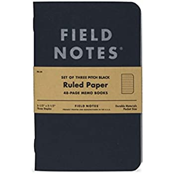 "Pitch Black Ruled Memo Book 3-Pack (3-1/2"" × 5-1/2"")"