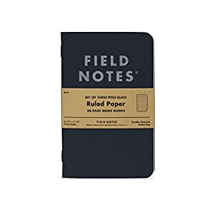 """Field Notes Pitch Black Notebook - 3-Pack - Small Size 3.5"""" x 5.5"""" - Dot-Graph Paper - 48 Pages (Small Size (3.5"""" x 5.5"""") 3-Pack - Ruled Paper)"""
