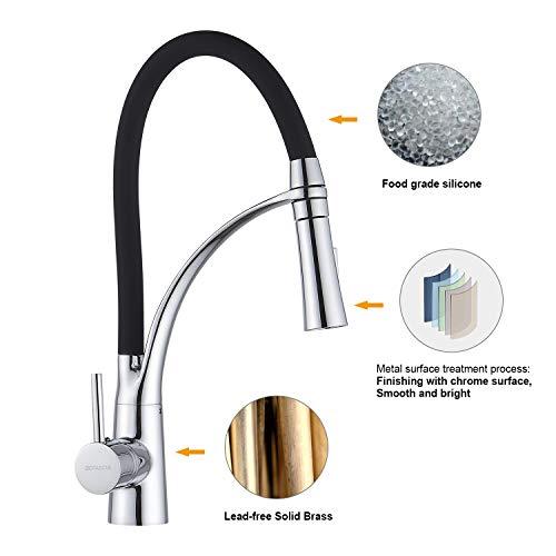 WOOHSE Wasserhahn Küche Niederdruck Ausziehbar Niederdruckarmatur Spültischarmatur Armatur Küche Einhandmischer Mischbatterie für einen Untertischboiler