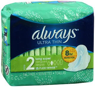 Always Ultra Thin Maxi Pads with Flexi-Wings Long Super - 12 packs of 16, Pack of 4