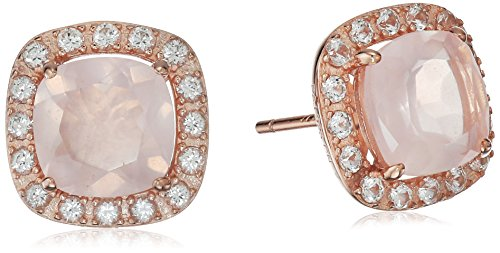 Quartz Sapphire Rose - 14k Rose Gold Plated Sterling Silver Genuine Rose Quartz Cushion Cut 8mm and Created White Sapphire Halo Stud Earrings