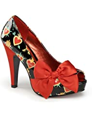 Womens Heart Pumps 4 1/2 Inch Red Heel Side Large Bow Peep Toe Shoes Arrows