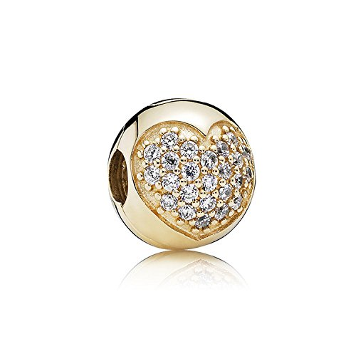 Pandora Love of My Life 14k Gold Clip Heart Clear CZ 750832CZ