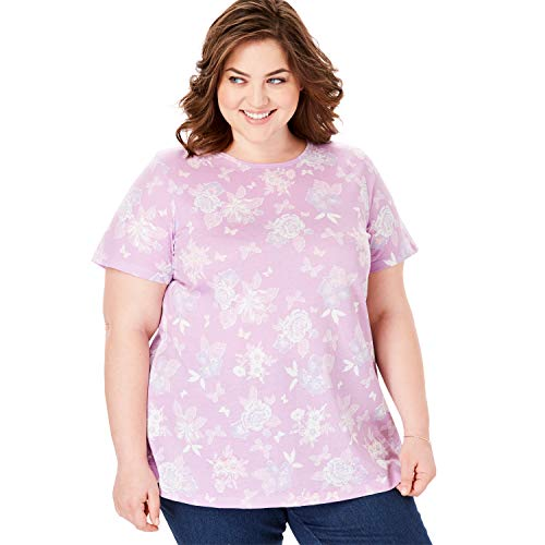 Woman Within Women's Plus Size Perfect Crewneck Printed Tee - Amethyst Butterfly Floral, 1X