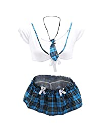 GLOGLOW Sexy Lingerie Uniform Set, School Girl Outfit Mini Skirt Cosplay Costume