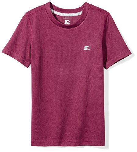Starter Boys' Short Sleeve Tech T-Shirt, Amazon Exclusive, Team Maroon, M (8/10)