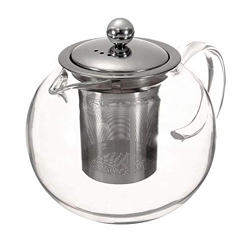 Clear Glass Teapot Teapots with Stainless Steel Infuser and Lid for Tea Leaf Loose Tea Microwave and Stovetop Safe (1300ml,44oz)