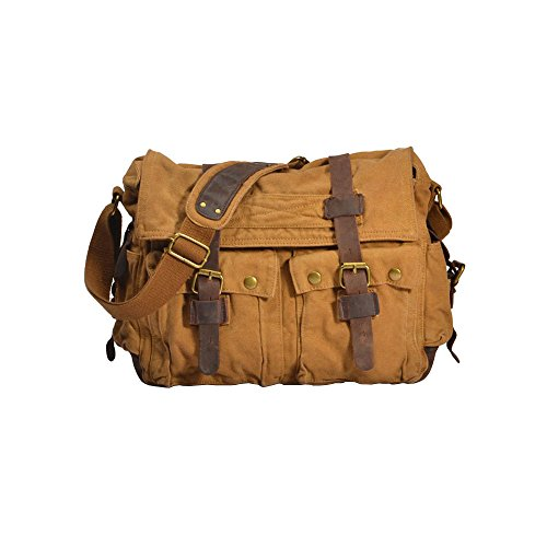 Messenger Crossbody Sports Large army Canvas Satchel School Khaki Bag Green Vintage Vrikoo Shoulder Military Casual Bags vwtFp4Tq